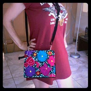 Mexican embroidery and black suede Handbag